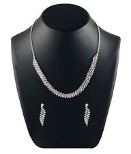 BOLLYWOOD INDIAN BRIDAL SILVER PLATED ZIG ZAG NECKLACE SET JEWELRY EARRINGS