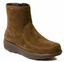 NEW FitFlop Loaff Shorty Zip Boot, Chocolate Brown Nubuck, Women Size 5, $185