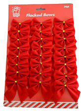24 Flocked Christmas Red Bows Flock Ribbon Tree Decoration Gift Wrapping Present