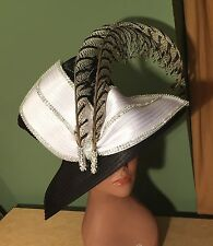 "NEW CHARM NY Blk White HAT Exotic Feathers RHINESTONE CHURCH ""BLING"" DERBY COGIC"