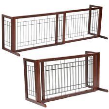 Wood Dog Gate Playpen Adjustable Indoor Solid Construction Pet Fence Free Stand