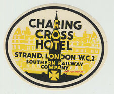 Charing Cross Hotel - London / UK RARE ORIGINAL VINTAGE LUGGAGE LABEL...