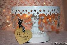 Opulent Treasures White Acrylic Crystal Cake Cupcake Stand Pedestal Cottage B3