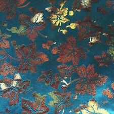 "Vintage Metallic SILK FABRIC Turquoise Leaves Iridescent 5+ yds X 36"""