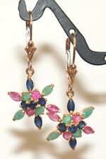 14k Solid Gold Leverback Cluster Star Dangle Earrings,Mix Ruby Sapphire Emerald.