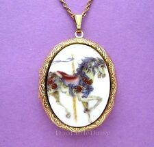 Porcelain CAROUSEL HORSE w/ ROSES CAMEO Costume Jewelry Locket Pendant Necklace