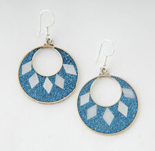 Tumi crushed blue turquoise round Mexican earrings  inlaid hand made  fairtrade