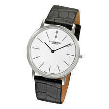 Stuhrling 601 33152 Classic Ascot Slim Swiss White Dial Leather Mens Watch