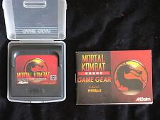 Mortal Kombat 1 (Sega Game Gear, 1992) Complete JAPAN JP Import