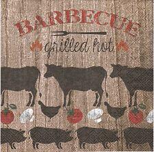 2 Serviettes en papier Barbecue Vache Cochon Decoupage Paper Napkins Grilled Hot