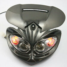 Universal Head Light Fairing Motorcycle Dual Sport Lamp Street Fighter Black