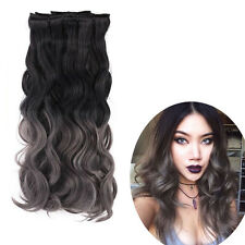 Natural Black To Dark Grey 8pcs Ombre 2 Tone Clip In Cosplay Hair Extensions 20""