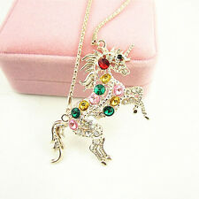Colorful Crystal Steed Horse Unicorn Pendant Necklace Sweater Chain Jewelry Gift