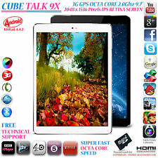 "CUBE TALK 9X 3G GPS 2GHz OCTA CORE 32GB 9.7"" RETINA 4.4 ANDROID PHONE TABLET PC"