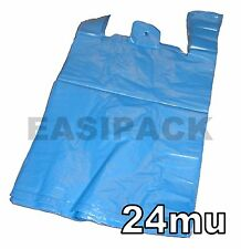"""100 x Strong BLUE recycled 11x17x21"""" vest carrier bags - 24mu"""