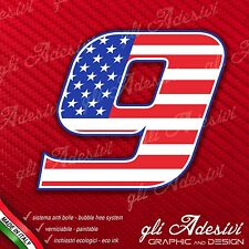 Adesivo Stickers NUMERO 9 moto auto cross gara USA Star & Stripes 15 cm