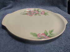Vtg 1940s Universal Potteries HANDLED CAKE PLATE TRAY Pink Flowers on Gray