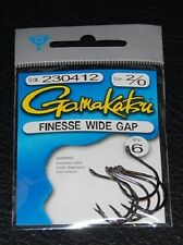 6 Pack Gamakatsu 230412 Finesse Wide Gap Hooks - Size 2/0 Nickel Black