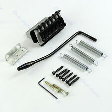 New 1 Set 6 Strings Tremolo Bridge With Bar For Electric Guitar Strat Black