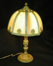 Antique Eight Panel Slag Glass Table Lamp