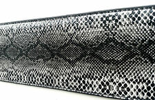 RATTLE SNAKE SKIN EMBOSSED LEATHER WIDE GUITAR STRAP + 10 PLECTRUMS electric