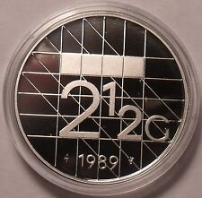 Rare Encapsulated Proof Netherlands 1989 2 1/2 Gulden~15,300 Minted~Free Ship
