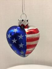 Patriotic Heart Glass Ornament Red White Blue USA Military Christmas Valentine's