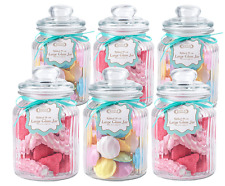 Large Ribbed Clear Glass Vintage Cookie/Sweet/Craft/Storage Jar/Jars - Set of 6
