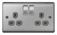 STAINLESS STEEL Double Socket 2 Gang Brushed Satin 13 Amp - SLIMLINE - BG NBS22G