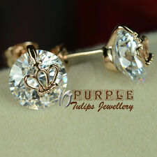 18K Rose Gold Plated Sparkling Cute Crown Stud Earrings W/ Swarovski Crystals