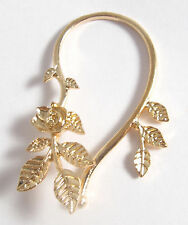 Gold Tone Rose Vine Leaf Ear Cuff Wrap Earring For Non-Pierced Ears Wraps Round