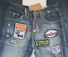 Stunning Men D2 DSQUARED Designer RACER Denim Jeans with Patches ITALY Made W30