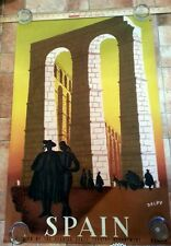 Spain original 1943 Delpy travel poster Madrid Spanish Mid Century Art Poster