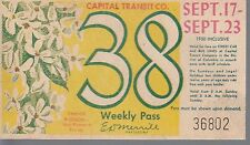 Trolly/Bus pass capital Transit Wash. DC--9/17/23/1950Orange Blosson-----44