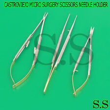 T/C 3 PCS CASTROVIEJO MICRO SURGERY SCISSORS NEEDLE HOLDER SUTURE TYING FORCEPS