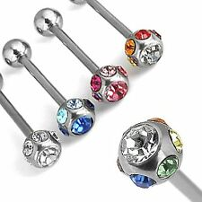 Multi Crystal Gem CZ Barbell Tongue Tounge Ring 6mm 316L Surgical Steel Nipple