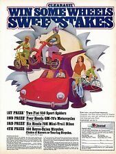 1971 Print Ad of Cearasil Sweepstakes Fiat 850 Spider Honda GM-70 Motorcycles.