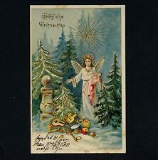 Weihnachten ENGEL & PUPPE / ANGEL & TOYS DOLLS X-Mas * Vintage 1900s PC Litho