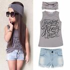 3pcs Baby Toddler Kids Girl Outfits Headband&Top T-shirt+Jeans Pants Cloth Sets