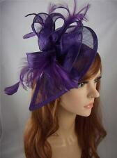 Purple Teardrop Sinamay Fascinator with Feathers - Occasion Wedding Races