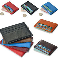Genuine Real Leather Slim Thin Credit Card Holder Mini wallet ID Case Wallet New