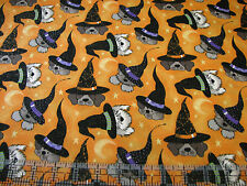 3 Yards Quilt Cotton Fabric - Fabric Traditions Halloween Dog Witches on Orange