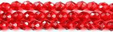 25 Siam Ruby  Czech Firepolish Faceted Round Glass Beads 8mm