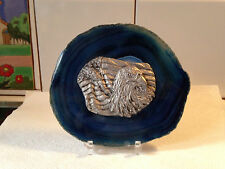 Eagle with American Flag on Blue Stone