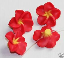8 Hawaiin Multi color Red Plumeria Fowers FIMO Polymer Clay  Beads 25mm
