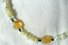 "Citrine nuggets, Mother-of-Pearl nuggets, 23"" necklace"