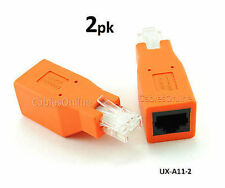 2-PACK Cat6 / Cat5e Ethernet RJ45 Male/Female CrossOver Adapter, UX-A11-2