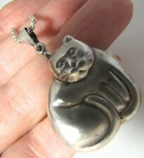 "Sterling Silver 3D CAT Locket Pendant + 30"" Thick Chain Necklace, 17.5g Vtg."
