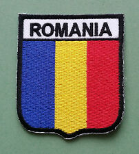 NATIONAL FLAG COUNTRY SHIELD SEW ON / IRON ON EMBROIDERED PATCH:- ROMANIA