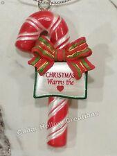 Personalized Candy Cane Ornament - Christmas Warms the Heart - FREE Shipping